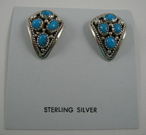 Sterling and Turquoise Clip Earrings