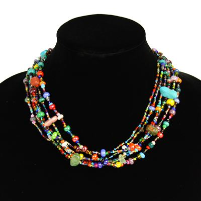 Six Strand Multi Color Necklace