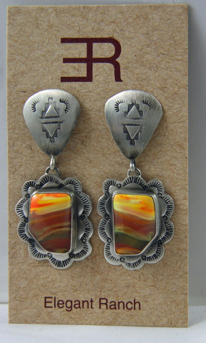 Tequila Sunrise Earrings - Navajo